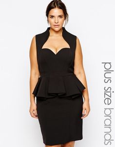 Buy Forever Unique Plus Sweetheart Peplum Pencil Dress at ASOS. Get the latest trends with ASOS now. Evening Dresses Plus Size, Plus Size Dresses, Plus Size Outfits, Curvy Fashion, Girl Fashion, Womens Fashion, Plus Size Kleidung, Evening Outfits, Plus Size Girls