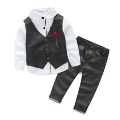 $19.60 (Buy here: https://alitems.com/g/1e8d114494ebda23ff8b16525dc3e8/?i=5&ulp=https%3A%2F%2Fwww.aliexpress.com%2Fitem%2F2016-Boys-Clothing-Sets-Autumn-Spring-Shirt-Vest-Pants-Boys-Wedding-Clothes-Kids-Gentleman-Leisure-Handsome%2F32547270321.html ) 2016 Boys Clothing Sets Autumn Spring Shirt + Vest + Pants Boys Wedding Clothes Kids Gentleman Leisure Handsome Suit Free Ship for just $19.60
