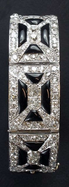 Musy-Art Deco diamond and onyx bracelet