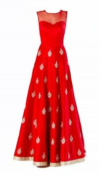 Red Raw Silk Gown