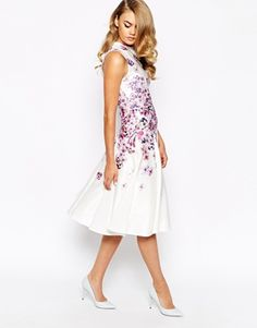 Enlarge True Violet Structured Prom Dress In Placement Floral Print