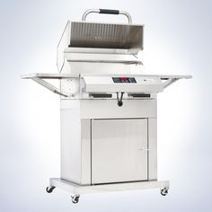 The electric outdoor grill that you need for your next summer party! ElectriChef's 4400 series closed-base 220V grills combine high performance flameless electric grilling with the ease and utility of integrated storage and mobility. Side shelves provide space for food and utensils and fold down for compact storage. Ample storage under the grill provides space to store utensils and accessories. Casters provide for mobility of the grill