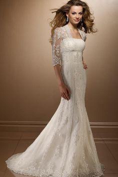 Sheath Strapless Chapel Satin Bridal Wedding Dresses