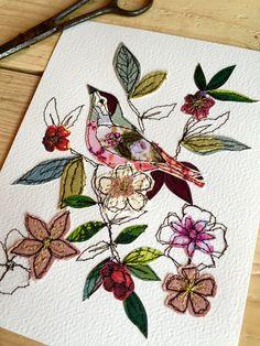 Summer Blooms- stitched mixed media- original art