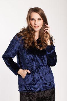 #catifea #boemurban #hanorac #catifea #hanoraccatifea #velvet #gluga Indigo, Ruffle Blouse, Urban, Long Sleeve, Sleeves, Clothing, Tops, Women, Fashion