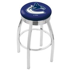 Vancouver Canucks NHL Chrome Ribbed Ring Bar Stool. Available in 25-inch and 30-inch seat heights. Visit SportsFansPlus.com for details.