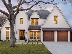window headers, cream exterior, wood door