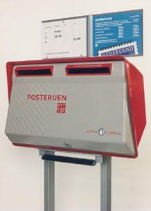 tweelingbrievenbus PTT  rood-grijs