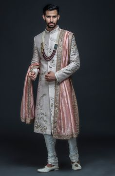 Sherwani With Hand Embroidery - Prom Dresses Design Engagement Dress For Groom, Wedding Outfits For Groom, Groom Wedding Dress, Bridal Outfits, Sikh Wedding, Gothic Wedding, Punjabi Wedding, Farm Wedding, Wedding Couples