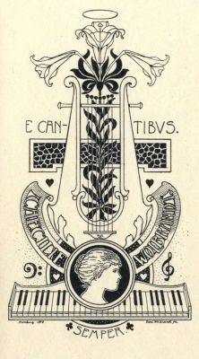 Bookplate by Karl Wolbrandt for Caecilie Wolbrandt, 1898