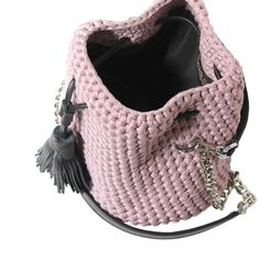 Monsur Gavriel inspiration  Crochet Bucket Bag ɕ powder pink bag ɕ summer clutch bag ɕ trendy bags ɕ pink bags ɕ pink bucket bag ɕ Boho bag ɕ boho purse ɕ Pink clutch ɕ