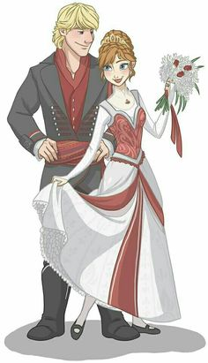 Disneys Princess Anna and Kristoff fan art <3 i think Anna's dress shouldve had green stripes instead of red though, green has always been her colour