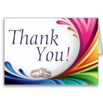 Elegant Swirling Rainbow Splash - Thank You - 2 Card