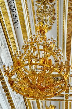 Gilded Chandelier...Hall of St George, Hermitage Winter Palace, St Petersburg, Russia.