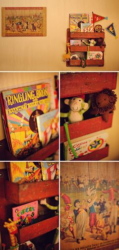Vintage Circus Themed Nursery.  I don't love the circus theme, but I do love the adorable red shelf and vintage toys and books.