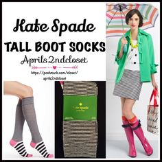 KATE SPADE TALL SOCKS Knees 💟 NEW WITH TAGS 💟  Kate Spade Tall Knee High Striped Boot Socks  * Super soft & comfortable fabric * Opaque Knit construction (not sheer). * Stretch-to-fit * One size fits most; Pull on & to the knee style  Fabric: 67% Cotton, 31% Polyester & 2% spandex; Machine wash Item:91500 Color: Black, white & Pink combo  🚫No Trades🚫 ✅Bundle Discounts✅ kate spade Accessories Hosiery & Socks