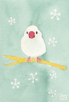 「桜文鳥」 ワトソン紙ポストカード 透明水彩