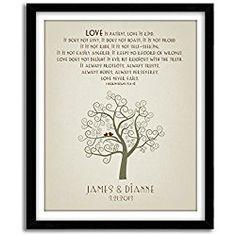 Personalized Wedding Gift Art, 1 Corinthians 13, Housewarming Gift, Wedding Shower gift, Family Tree Wall Art, Holiday Gift