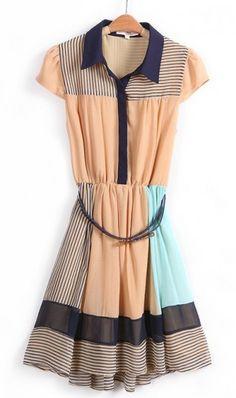 Stripe chiffon lapel dress with belt free C12420037. coll dress