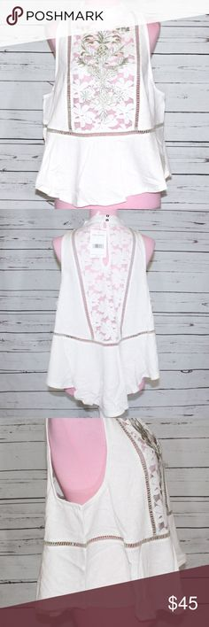 Free People Flora Tank Emroider Lace Motif NWT Free People Flora Tank Ivory. New with tags. NWT. Floral pattern. Sleeveless. Embroidered lace pineapple swing tank. Slightly cropped. Free People Tops