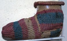Child' sock wool KNITTED found Oxyrhynchus, Egypt 2nd cent Roman Manchester Museum