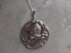 Sterling silver Joan of Arc lady pendant coin medallion medal