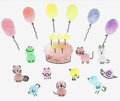Ganz viele Fingerabdrücke = Geburtstagsparty mit Tieren.