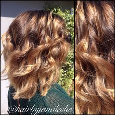 Gorgeous golden beige sombré on an adorable layered lob. Hair by Jami Leslie. Tiger Tail Salon- Carlsbad CA