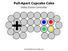 Video Game Controller  Pull-Apart Cupcake Cake Template | Over 200 Cupcake Cake Templates perfect for all your party needs!