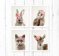 Woodlands Print Set Nursery Animal Wall Art by AMELIEVintageCo