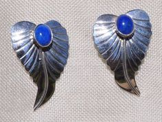 BEAUTIFUL HANDCRAFTED STERLING SILVER & BLUE LAPIS LEAF EARRINGS, POST, PIERCED