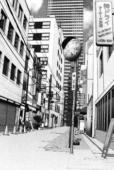Pen, ink, sketch Escena realizada a bolígrafo y a tinta con el estilo y perspectiva tipicamente utilizados para los escenarios empleados en los mangas.