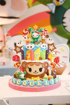 Detailed cake from Hello Kitty Tokidoki Themed Birthday Party at Kara's Party Ideas. #tokidoki #hellokitty #tokidokiparty