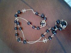 Vintage sautoir necklace black gold chain bead logo haute couture unsigned  #unsigneddesigner