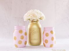 $25 IN STOCK Painted Mason Jars 1st birthday party, girl's birthday party, baby shower, nursery decor with gold by TheShabbyChicParty