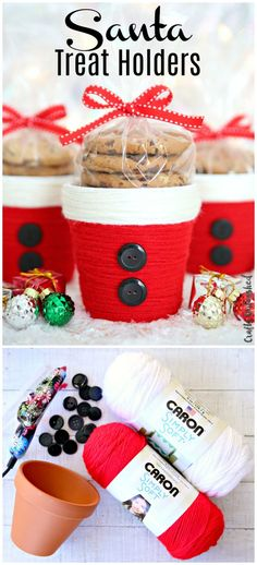 Yarn Wrapped Santa Treat Holders