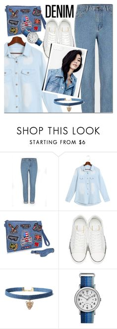 """""""Yoins denim"""" by mada-malureanu ❤ liked on Polyvore featuring Valentino, WithChic, Timex, Denimondenim, yoins, yoinscollection and loveyoins"""