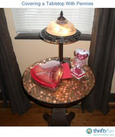 This guide is about covering a tabletop with pennies. An attractive finish to a table can be these coins.