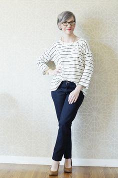 First Pair of Ginger Jeans, handmade wardrobe, Closet Case Files Pattern, Striped hemlock tee