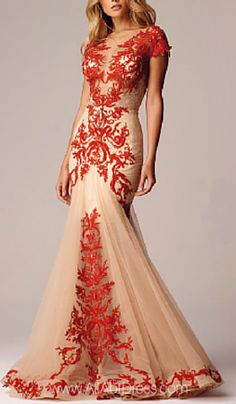 Alberto Makali RED AND NUDE LACE APPLIQUE EVENING GOWN