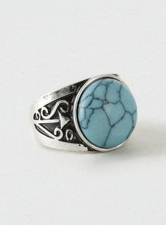 Semi Precious Crackle Stone Ring for men - Antique silver look ring with real semi precious turqouise crackle effect stone. - at Topman.
