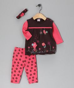 Take a look at this Brown Floral Bubble Tunic Set by Baby Basics Collection on #zulily today!