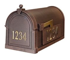 The Berkshire Post Mounted Mailbox presents an impressive face. The one piece cast aluminum door features deeply cut details with a rich, leather grain textured panel. The stainless steel spring hinge and magnetic catch will keep the door secure and the rust proof cast aluminum body construction creates a weather resistant mailbox. This mailbox includes two side mount address plaques and 3 inch high self adhesive numbers for the side and 2 inch high self adhesive numbers for the front of the…