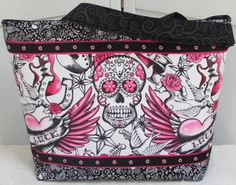 http://tidd.ly/9df7ebc Hot Pink Tattoo Sugar Skull Large Tote Bag Tattoo Skull Purse Lucky heart shoulder bag Ready To Ship