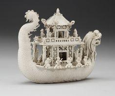 19th Century white bisciut Dragon Boat