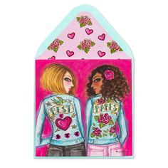 Wish your bestie a Happy Galentine's Day with this adorable yet badass card featuring two babes in embellished jean jackets accented with rhinestones, glitter, and shimmering gold foil. Bright and cheerful, it's the best way to send her some love on this love-filled holiday. Happy Galentines Day, Barbie, Badass, Besties, Cheer, Disney Characters, Fictional Characters, Aurora Sleeping Beauty, Valentines