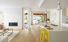 Living Kitchen, New Home Designs - Metricon Open Plan Kitchen Living Room, Open Plan Living, Dining Room, Modern Flooring, Wood Flooring, Interior Decorating, Interior Design, Living Room Flooring, New Home Designs