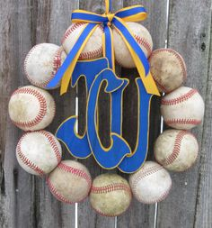 Baseball Love Wreath with Three Letters