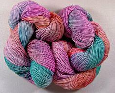 Candygram Hand-dyed Superwash Merino/Lurex Yarn by yarnwench