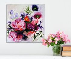 Oil Painting Flowers Abstract Art Original // #artpainting #OilPaintingFlowers